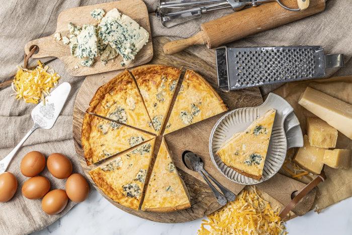 Ingredientes Quiche de cuatro quesos, La mejor Quiche en Valencia, La Petite Brioche Valencia
