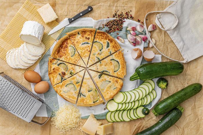 Ingredientes quiche de calabacín y queso de cabra, La mejor Quiche en Valencia, La Petite Brioche Valencia